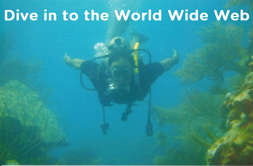 Diver undersea with title Dive into the World Wide Web