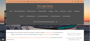Screenshot of The Lake Family Historical Association's website